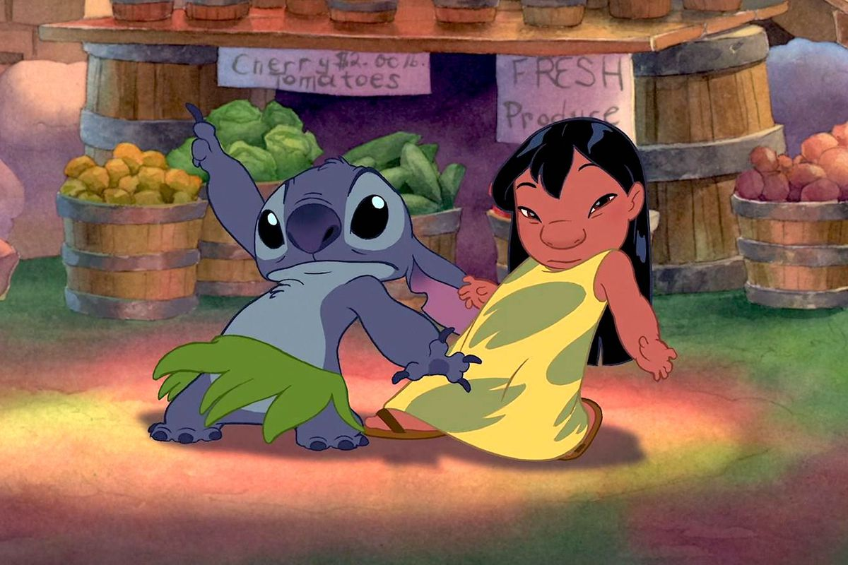 lilo and stitch dance in front of a fruit cart