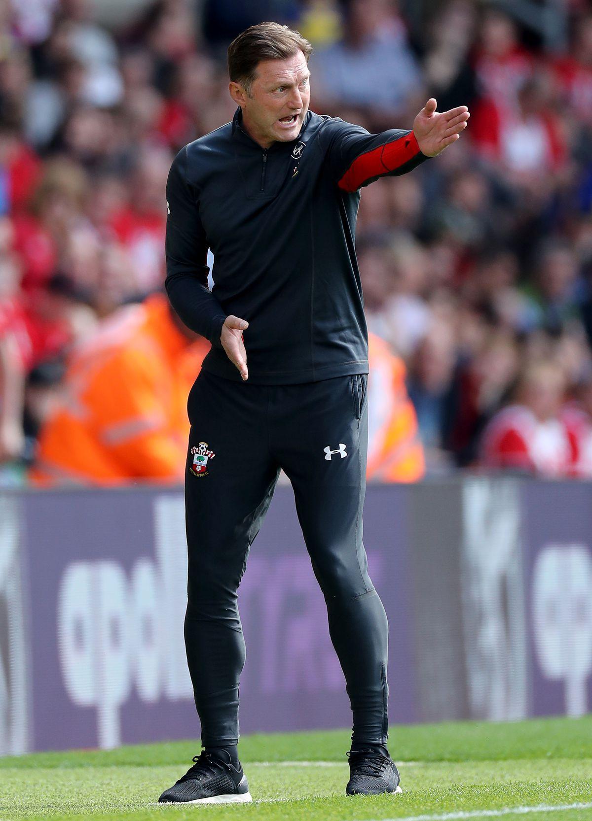 Southampton manager Ralph Hasenhuttl on the Saints touchline