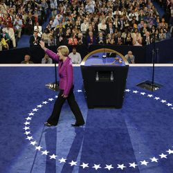 Candidate for US Senate Tammy Baldwin of Wisconsin waves after speaking at the Democratic National Convention in Charlotte, N.C., on Thursday, Sept. 6, 2012.