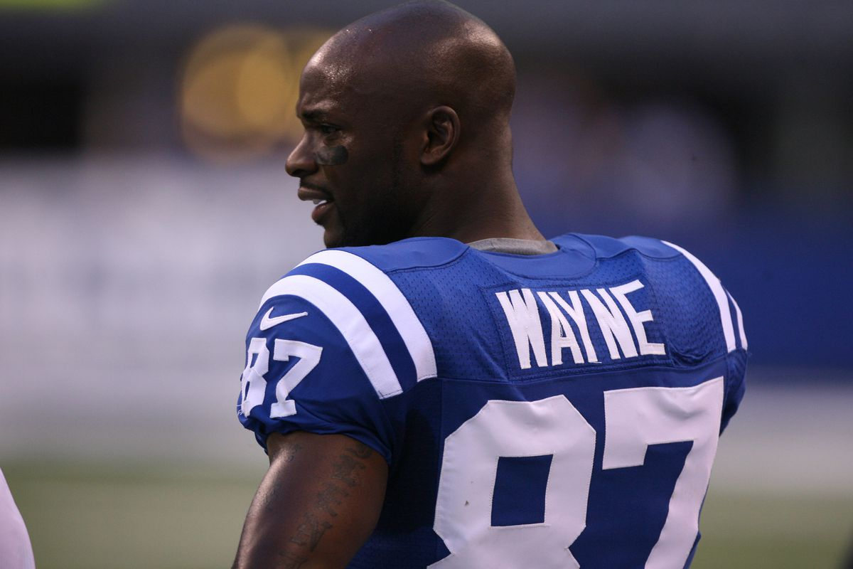 Aug 30, 2012; Indianapolis, IN, USA; Indianapolis Colts wide receiver Reggie Wayne (87) watches from the sidelines during the game against the Cincinnati Bengals at Lucas Oil Stadium.  Mandatory Credit: Brian Spurlock-US PRESSWIRE