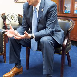 Rep. Jason Chaffetz, R-Utah, discusses policy and politics in his office while waiting for a Republican Conference meeting to sort out a key vote on health care on the evening of Thursday, March 23.