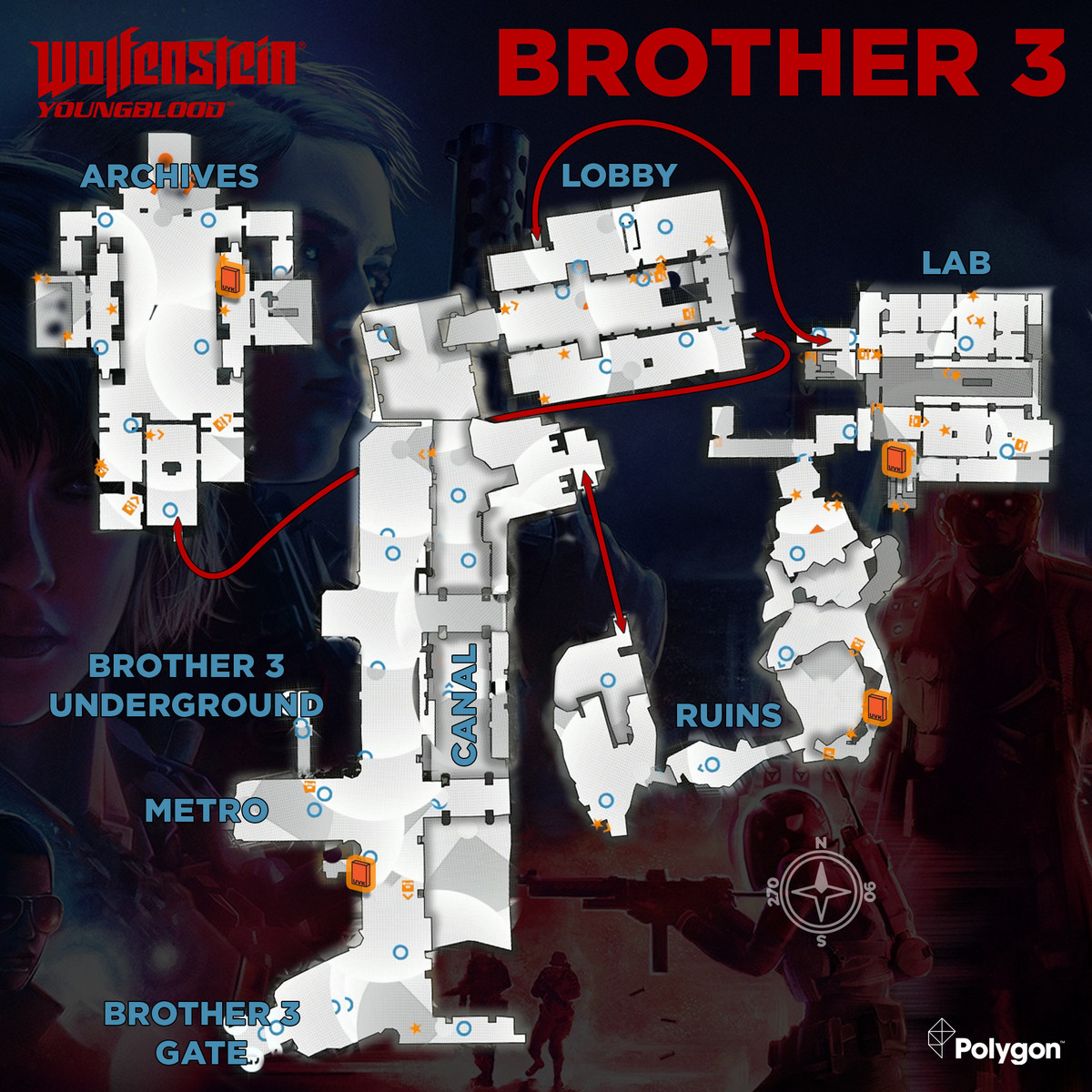 Wolfenstein: Youngblood Brother 3 map with UVK Covers icons