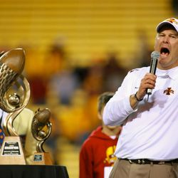 Iowa State Cyclones head coach Paul Rhoads speaks to the crowd during the trophy presentation of the 2009 Insight Bowl. The Cyclones defeated the Iowa State Cyclones 14-13 at Sun Devil Stadium.