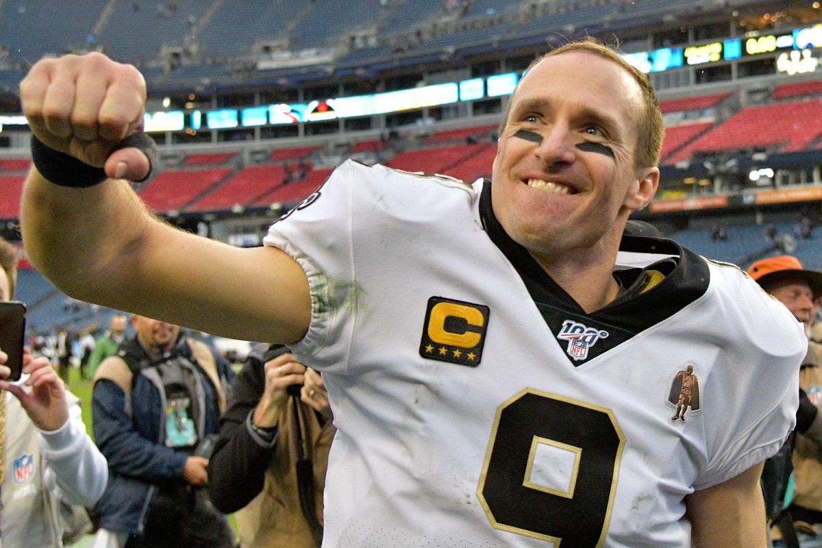 New Orleans Saints quarterback Drew Brees reacts following his teams 38-28 victory over the Tennessee Titans at Nissan Stadium.