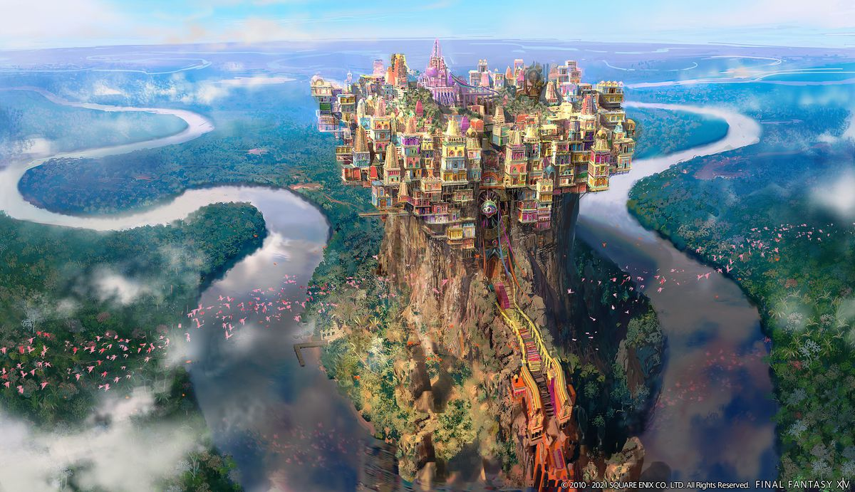 Radz-at-Han from the outside, a huge colorful city atop a cliff