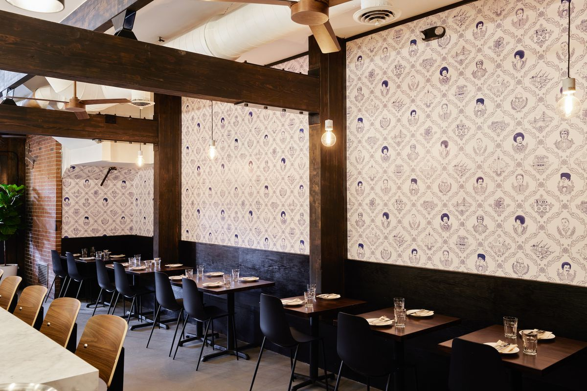 The toile wallpaper at Fiorella features well-known Bay Area residents from Alice Waters to E-40