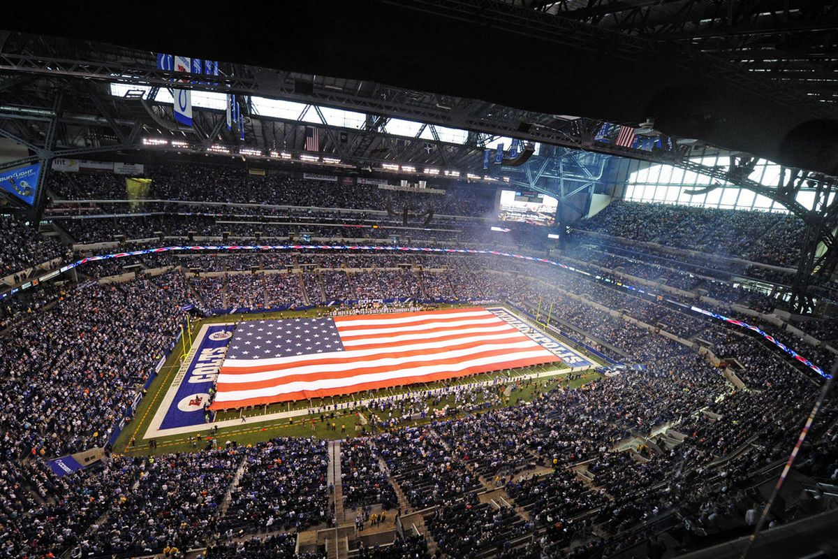Nov. 04, 2012; Indianapolis, IN, USA; A general view during the playing of the national anthem before the game between the Miami Dolphins and Indianapolis Colts at Lucas Oil Stadium.