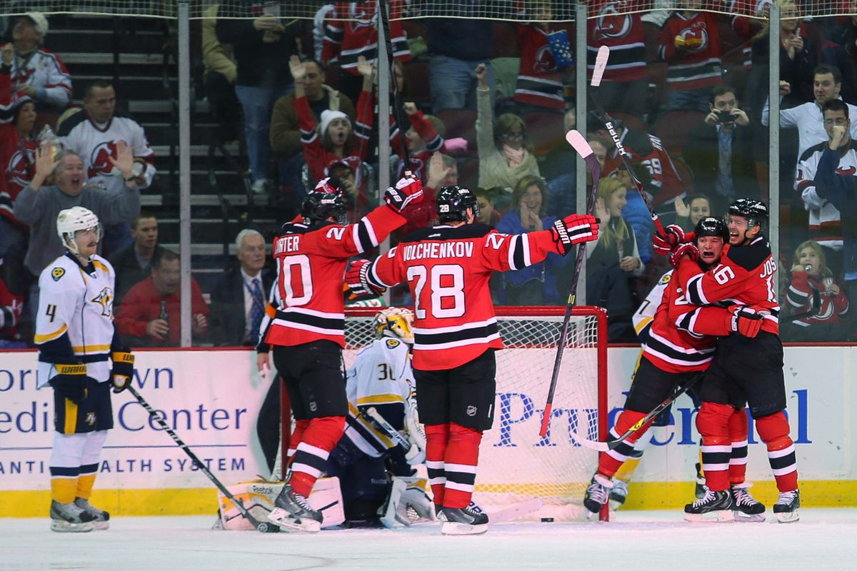 This is Cam Janssen celebrating scoring a goal. There's no such thing as a funnier caption than that.