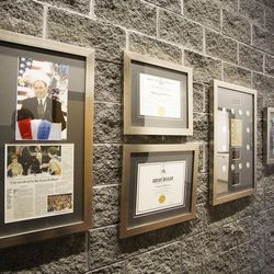 A display of Thomas S. Monson Scouting memorabilia is seen at the Thomas S. Monson Lodge at the Hinckley Scout Ranch in the Uinta Mountains on Wednesday, Oct. 5, 2016. President Henry B. Eyring, first counselor in the First Presidency of the Church of Jesus Christ of Latter-day Saints, dedicated the building on Wednesday.