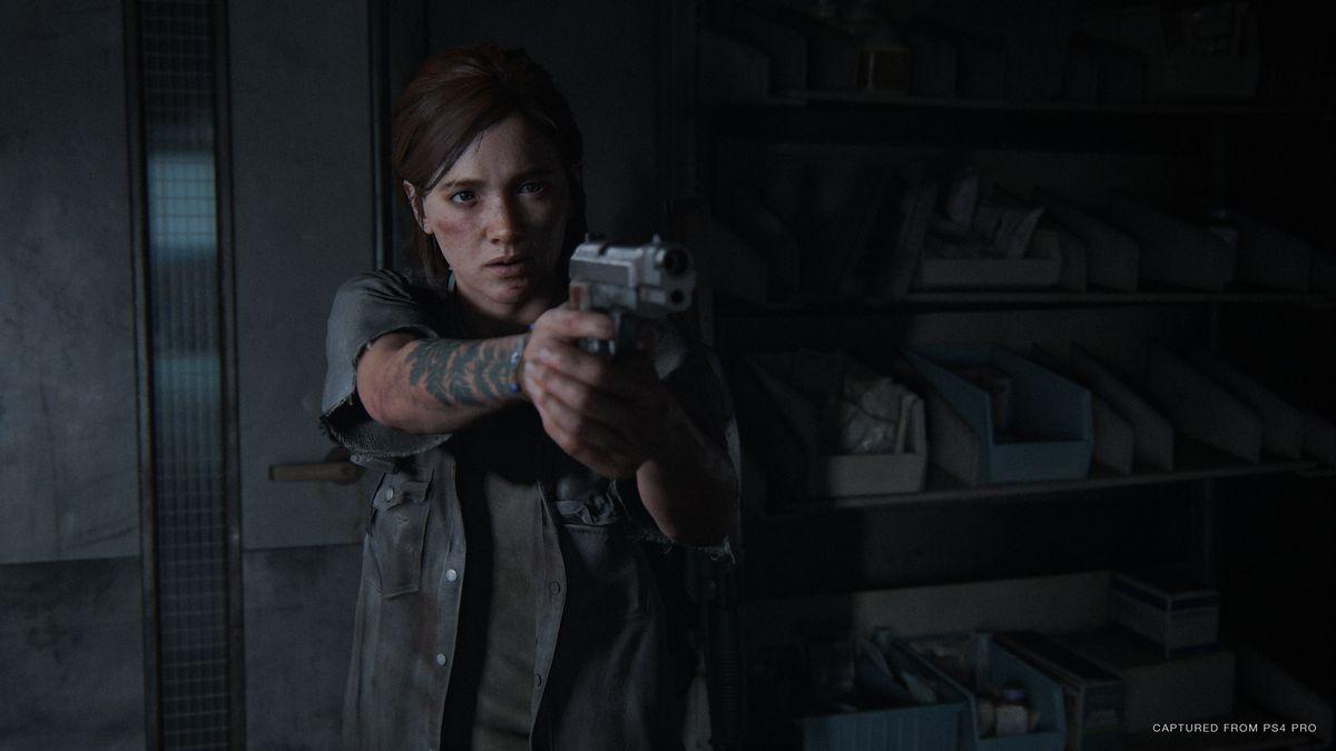 The Last of Us Part 2 heroine Ellie aims a pistol