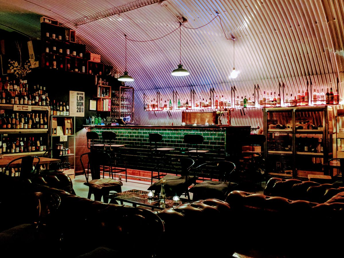 Burgess & Hall wine bar in a railway arch at Forest Gate