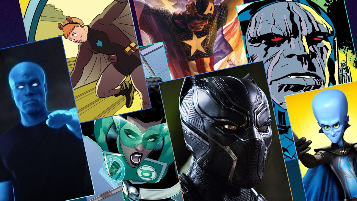 Graphic featuring a grid of images of Superheroes from comics and movies