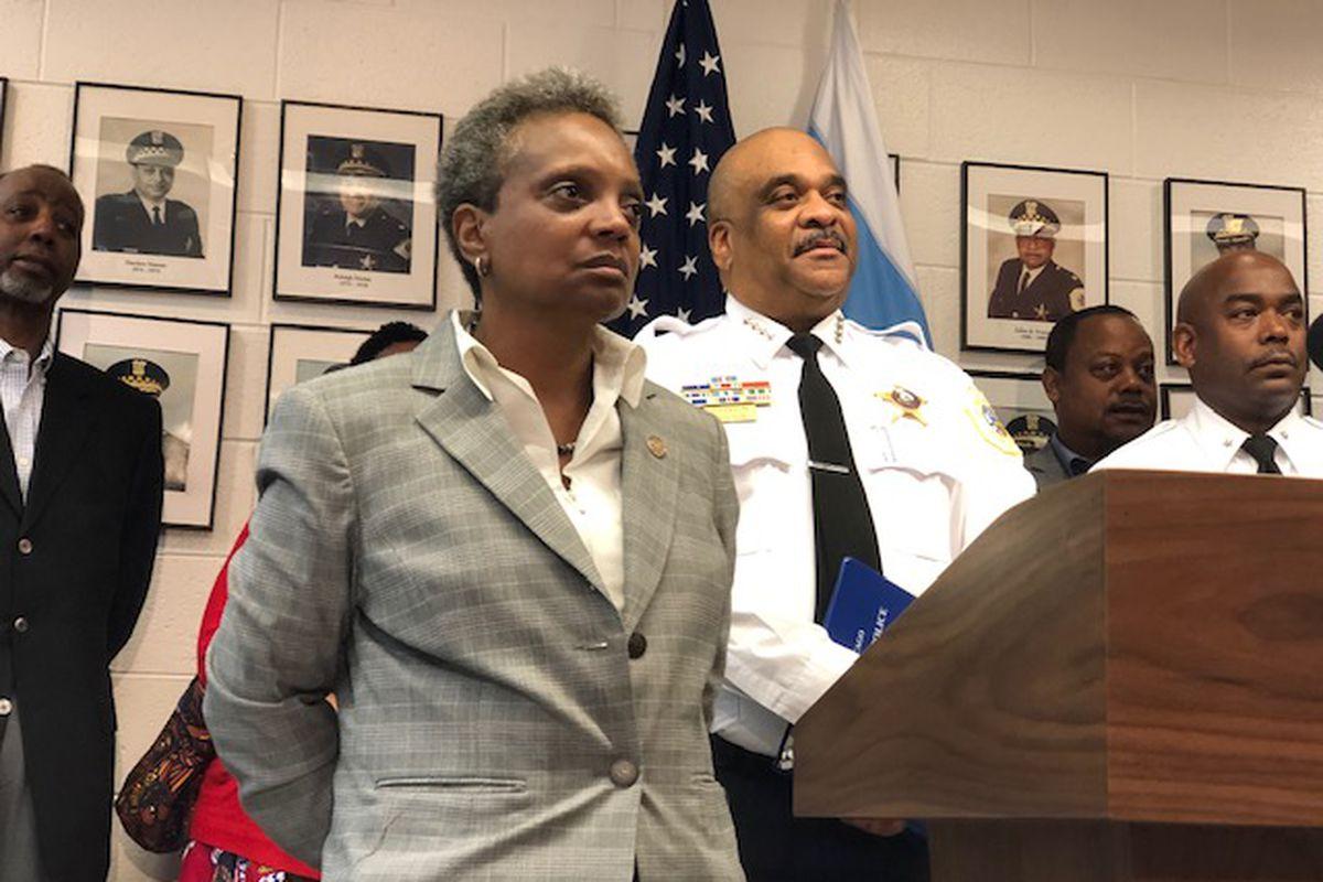Mayor Lori Lightfoot and Chicago Police Supt. Eddie Johnson.