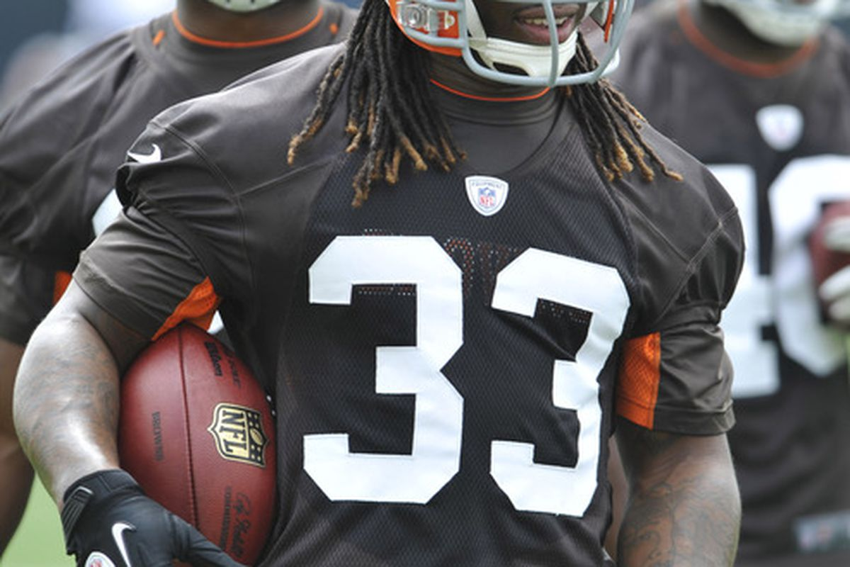 Jun 12, 2012; Berea, OH, USA; Cleveland Browns running back Trent Richardson (33) stands with the ball during minicamp at the Cleveland Browns training facility. Mandatory Credit: David Richard-US PRESSWIRE
