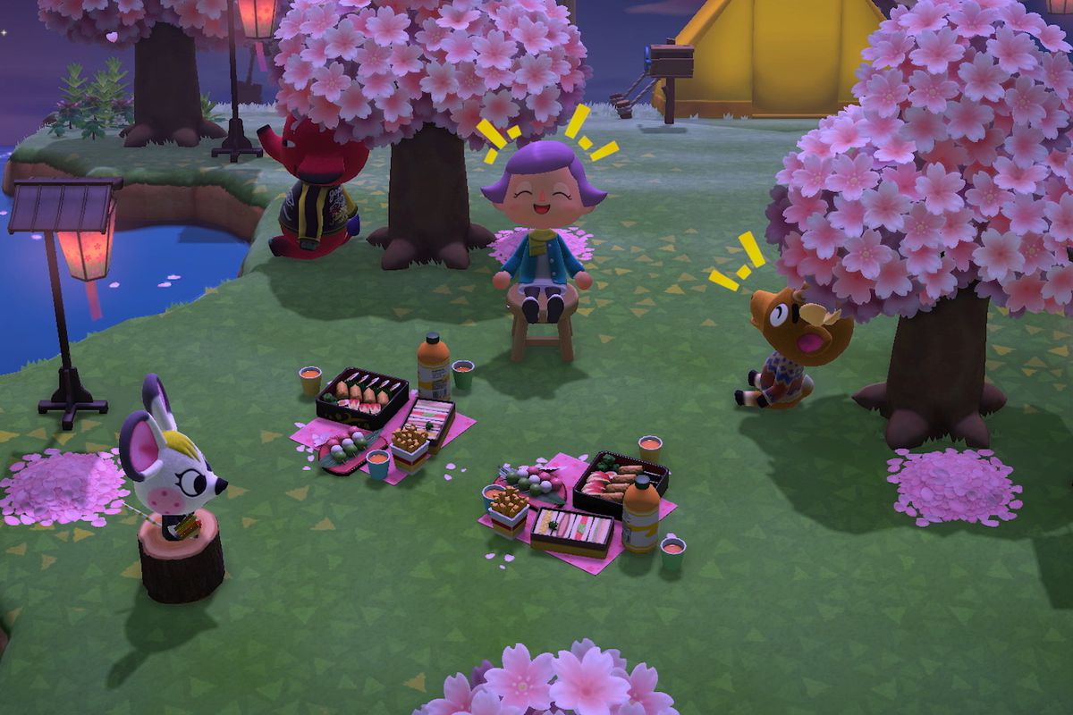Some Animal Crossing characters having a picnic.