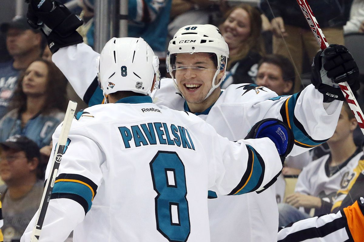 Oct 20, 2016; Pittsburgh, PA, USA; San Jose Sharks center Joe Pavelski (8) and center Tomas Hertl (48) celebrate a goal by Hertl against the Pittsburgh Penguins head coach Mike Sullivan during the second period at the PPG Paints Arena.