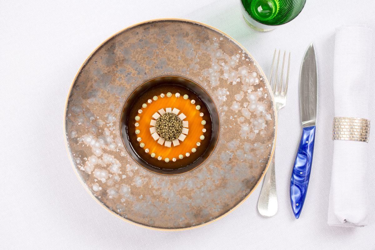 Sturgeon caviar and duck jelly at London tasting menu Michelin-starred restaurant Bibendum
