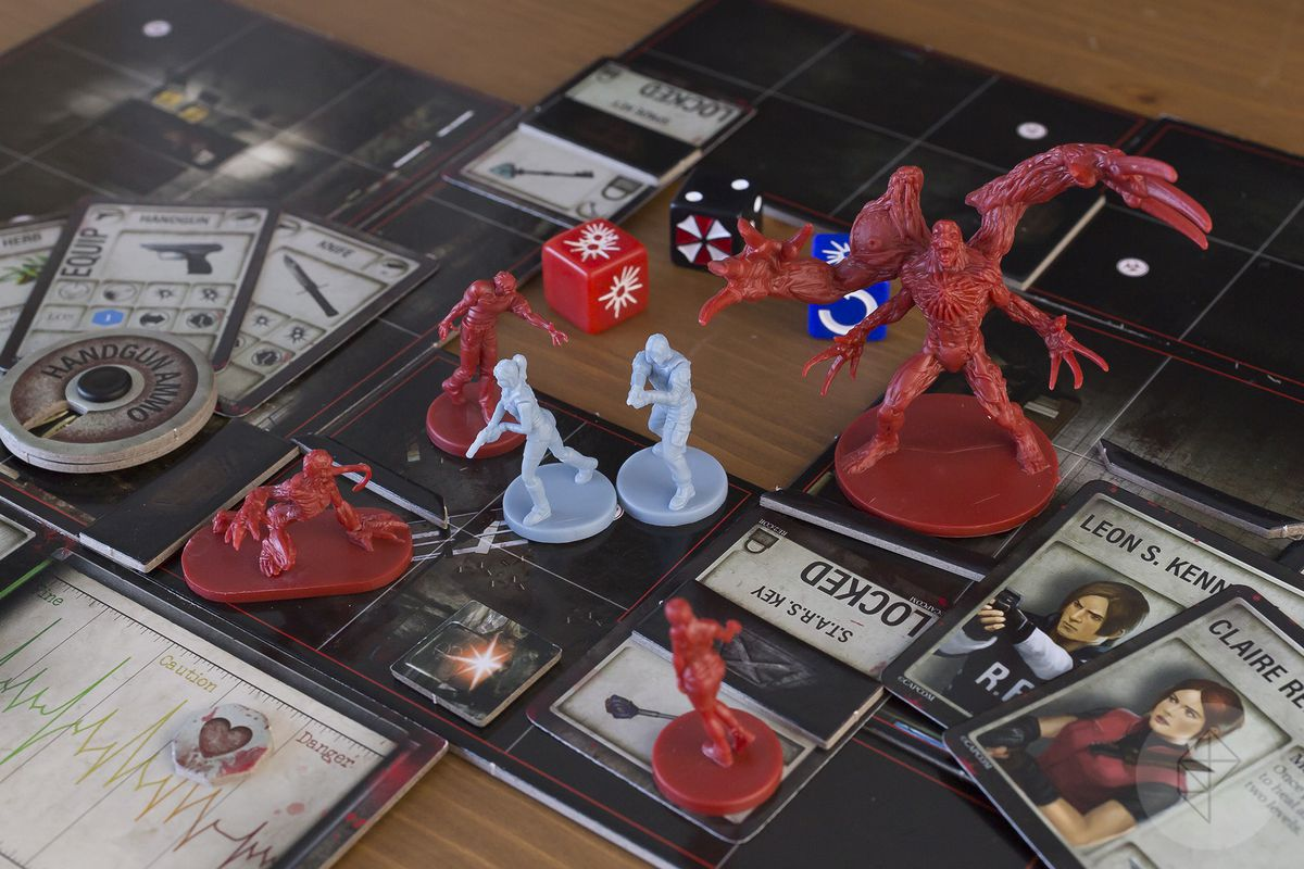 Two player characters fend off an all-out assault by iconic Resident Evil 2 characters, including a massive mutant.