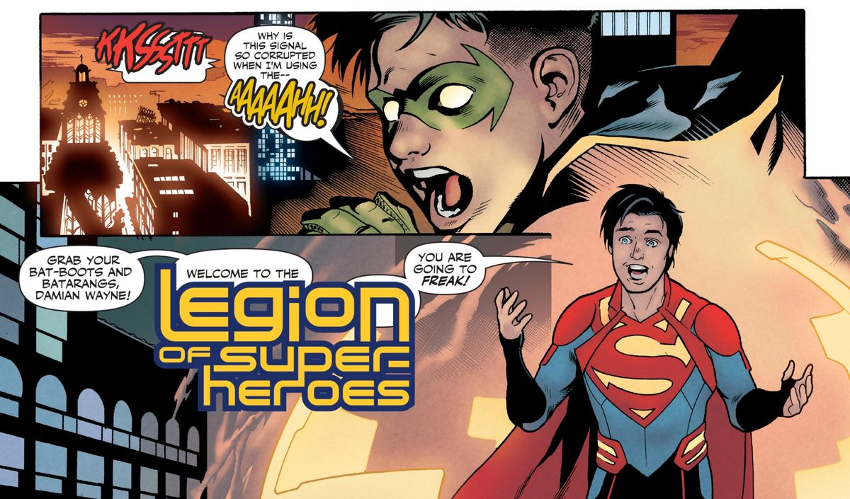 """Jon Kent/Superboy surprises Damian Wayne/Robin, stepping out of a time machine and shouting """"Grab your Bat-boots and Batarangs, Damian Wayne! Welcome to the Legion of Super-Heroes, you are going to FREAK!"""" in Legion of Super-Heroes #2, DC Comics (2019)."""