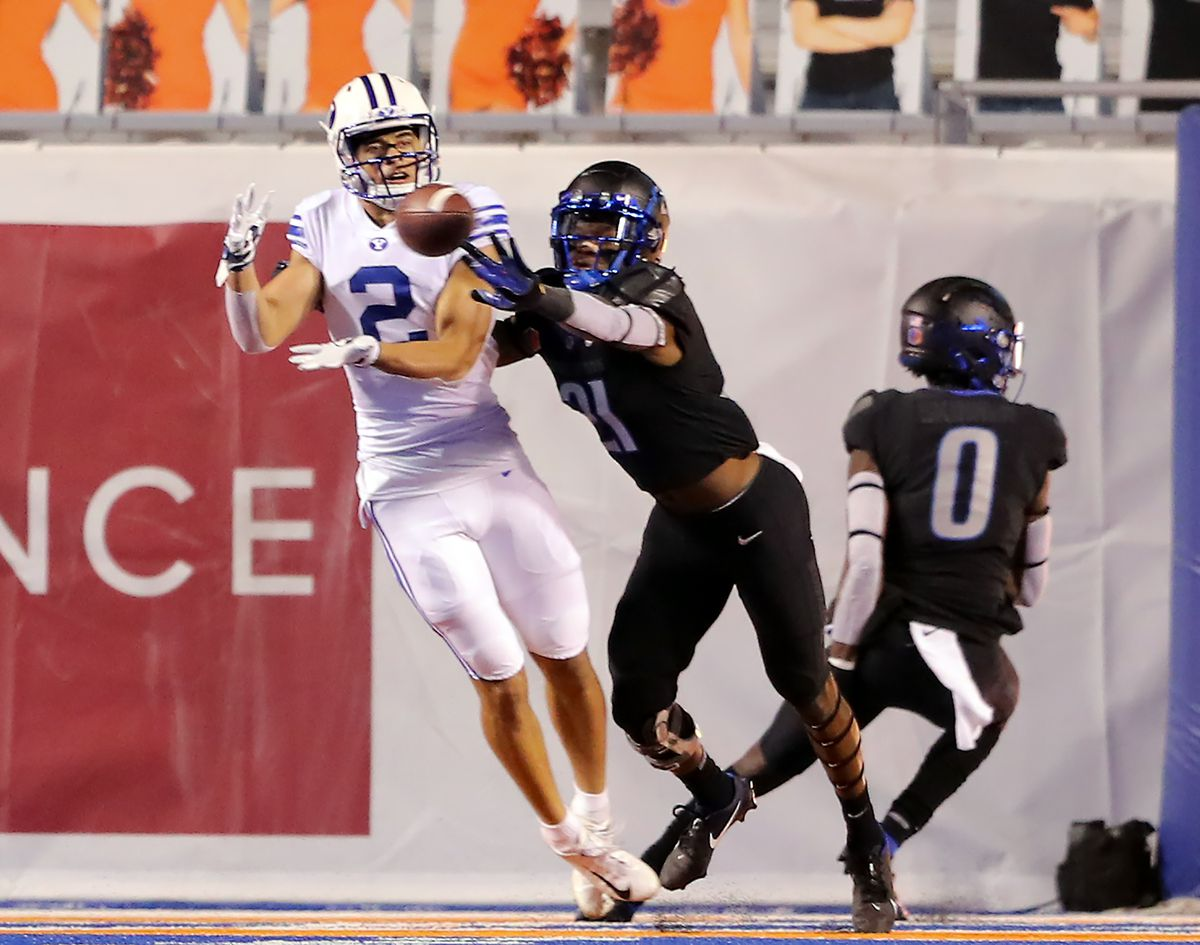 BYU wide receiver Neil Pau'u (2) makes a catch for a two-point conversion with Boise State Broncos safety Tyreque Jones (21) defending as BYU and Boise State play a college football game at Albertsons Stadium in Boise on Friday, Nov. 6, 2020. BYU won 51-17.