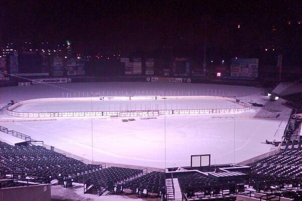 Frontier Field outdoor rink, awaiting the Monsters/Amerks on Dec 13