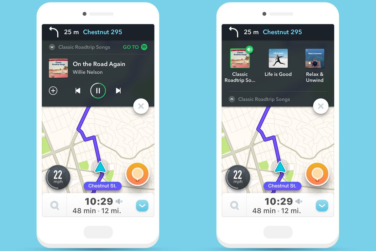waze puts spotify music controls in its navigation app the verge. Black Bedroom Furniture Sets. Home Design Ideas