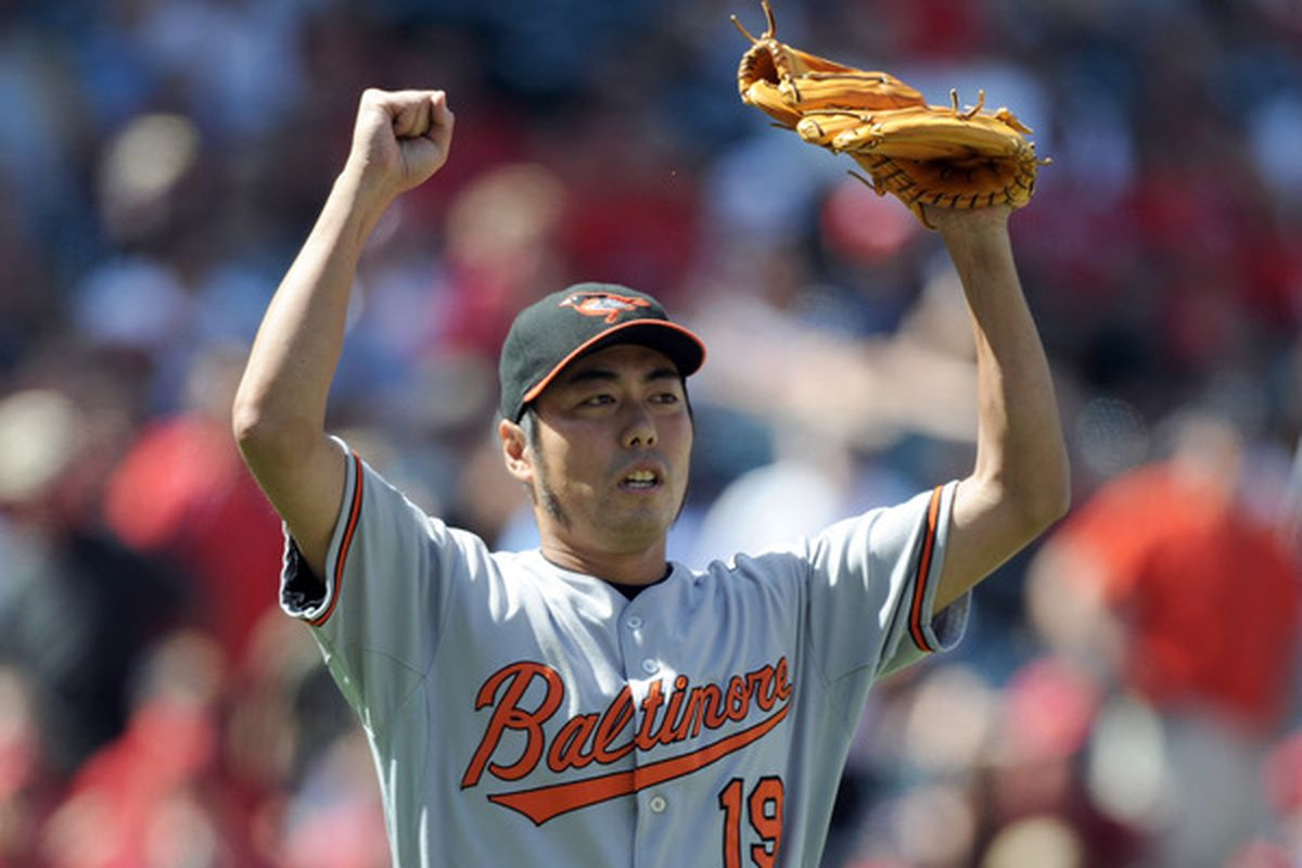 Koji Uehara celebrates a save. He did that a lot last week. (Photo by Harry How/Getty Images)
