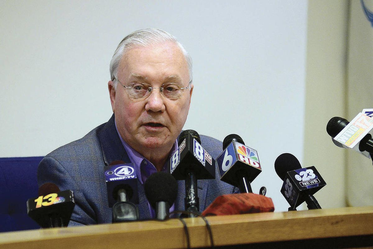 Dixon, Ill., Mayor Jim Burke speaks during a news conference Wednesday morning, April 18, 2012, to address the arrest Tuesday of city Comptroller Rita Crundwell, who is accused of misappropriating more than $30 million from the city since 2006 to finance