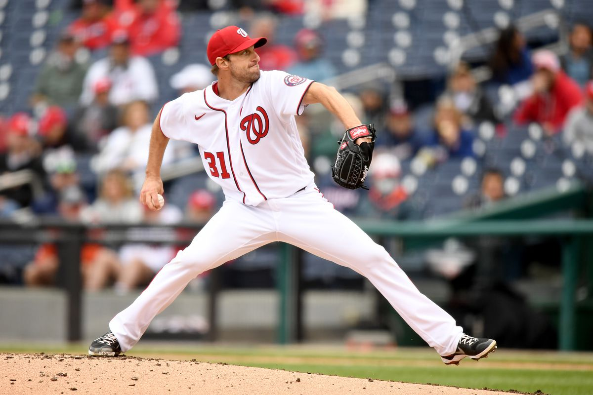 Max Scherzer of the Washington Nationals pitches against the Milwaukee Brewers at Nationals Park on May 30, 2021 in Washington, DC.