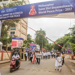 Elder D. Todd Christofferson, a member of the Quorum of Twelve Apostles for The Church of Jesus Christ of Latter-day Saints, is seen on banners at the entrance of the MIT World Peace University in Pune, Maharashtra, India, on August 15, 2017.
