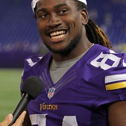 Aug 9, 2013; Minneapolis, MN, USA; Minnesota Vikings wide receiver Cordarrelle Patterson (84) smiles during an interview following the game against the Houston Texans at the Metrodome. The Texans defeated the Vikings 27-13.
