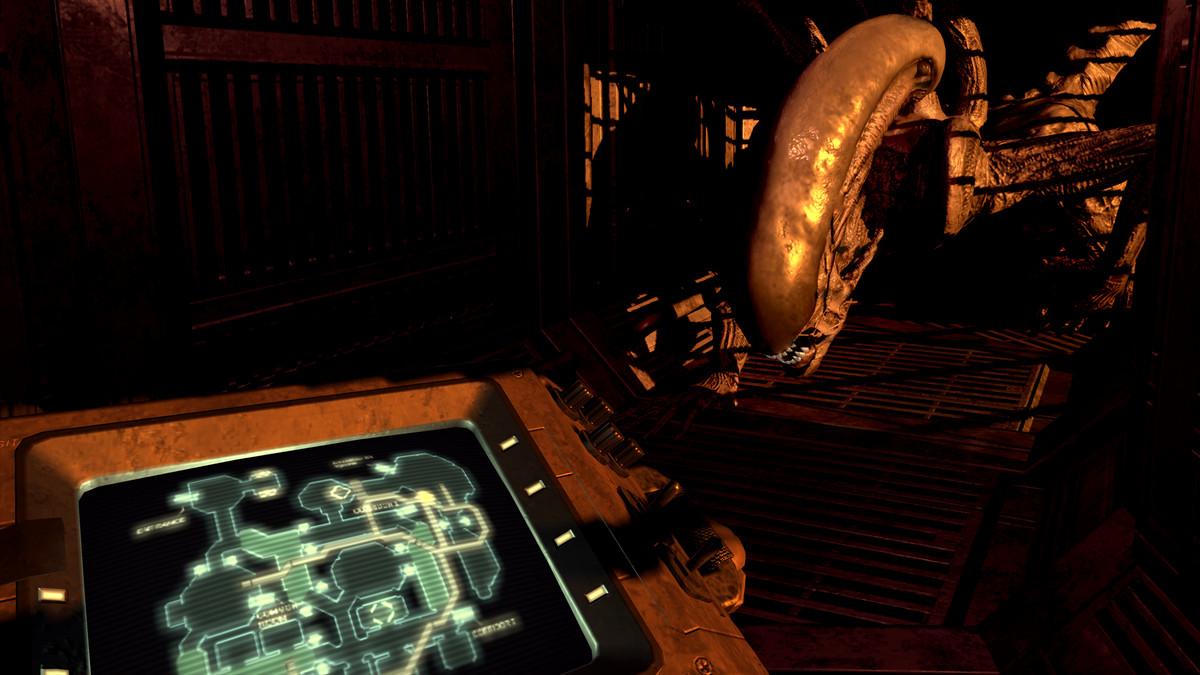 Alien: Blackout - Xenomorph approaching control panel in dark hallway