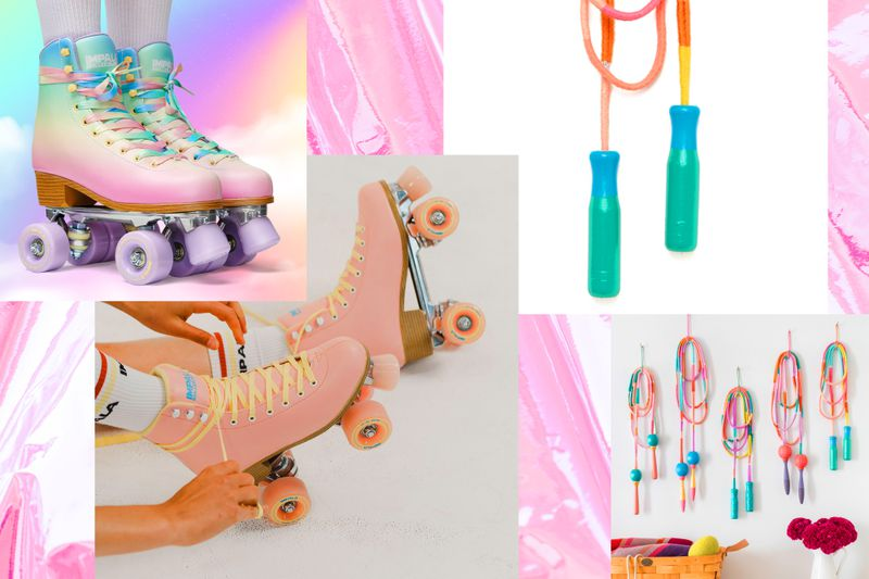 Retro roller skates in an iridescent gradient and fiber-wrapped jumpropes with painted wood handles.