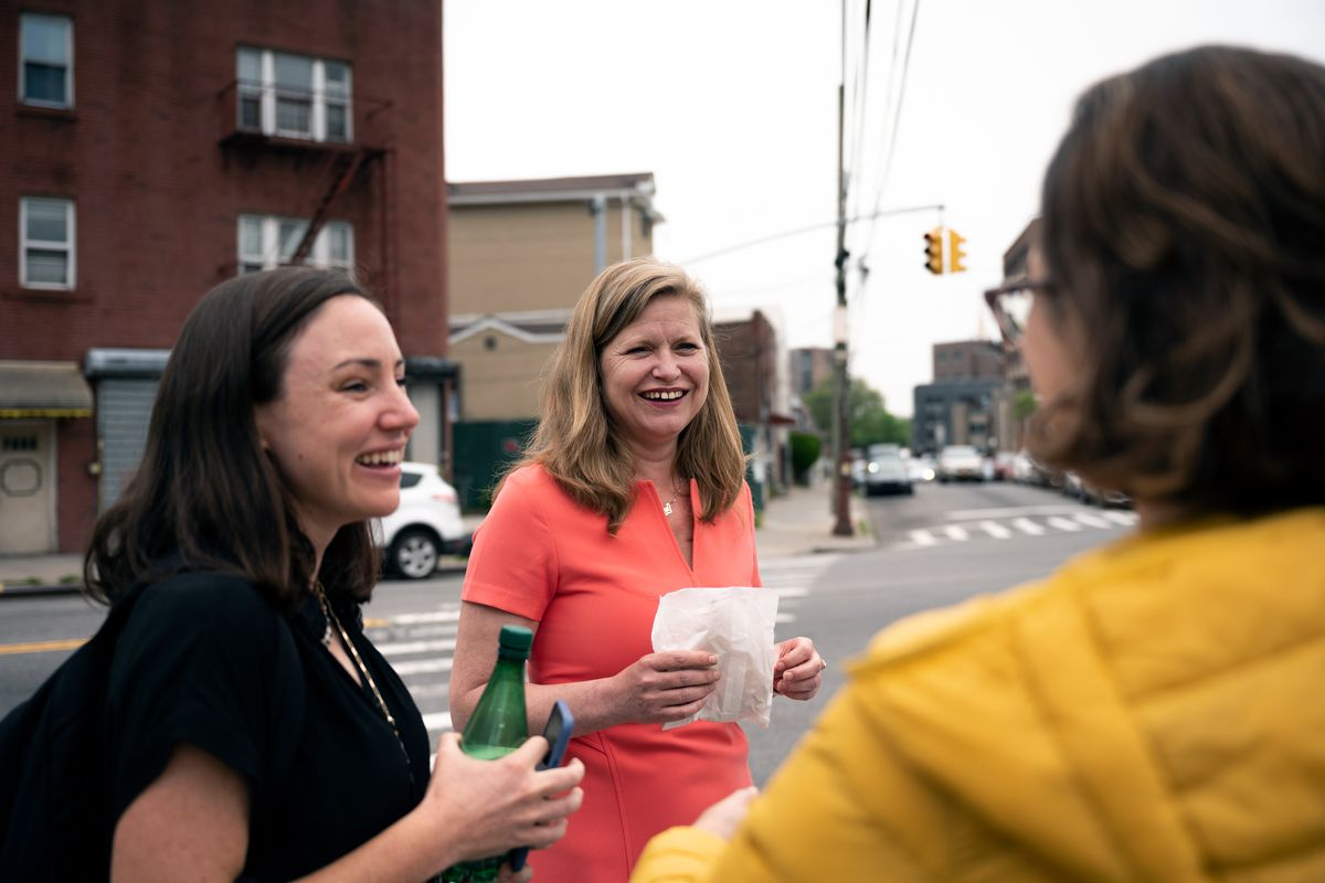 Mayoral candidate Kathryn Garcia speaks with voters in Corona, Queens, May 4, 2021.