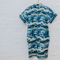 """""""Loving the aqua hues of the print combined with a structured tapered silhouette."""" <b>Suzanne Rae</b> Print shirt dress, <a href=""""http://www.spiritualameri.ca/new-arrivals/print-shirt-dress.html"""">$459</a>"""