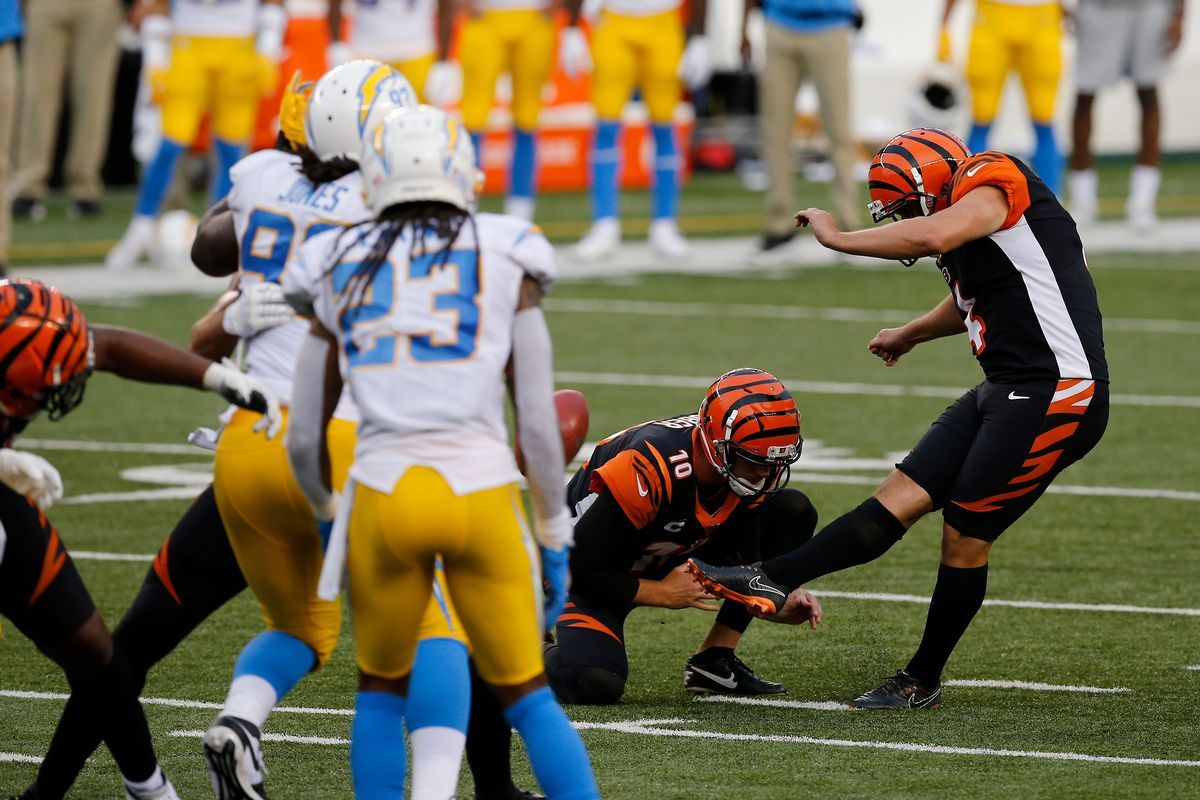 Cincinnati Bengals kicker Randy Bullock misses the game-tying field goal in the final seconds of the fourth quarter of the NFL Week 1 game between the Cincinnati Bengals and the Los Angeles Chargers at Paul Brown Stadium in downtown Cincinnati on Sunday, Sept. 13, 2020.