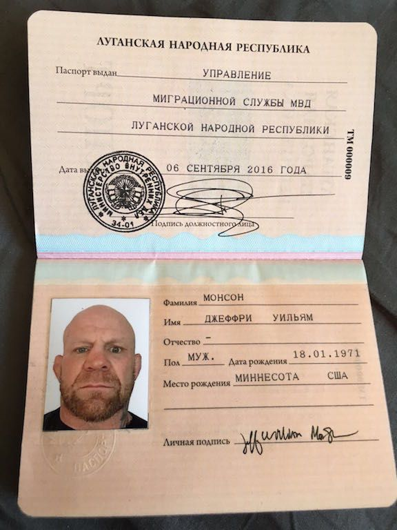Jeff Monson passport