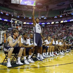 Jeremy Evans is introduced before the Utah Jazz's scrimmage in Salt Lake City, Saturday, Oct. 5, 2013.