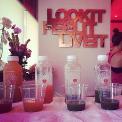"""We did it! After the class, we were treated to cold-pressed thirst quenchers from <a href=""""http://www.orchardflats.com/"""">Orchard Flats Juicery</a>."""