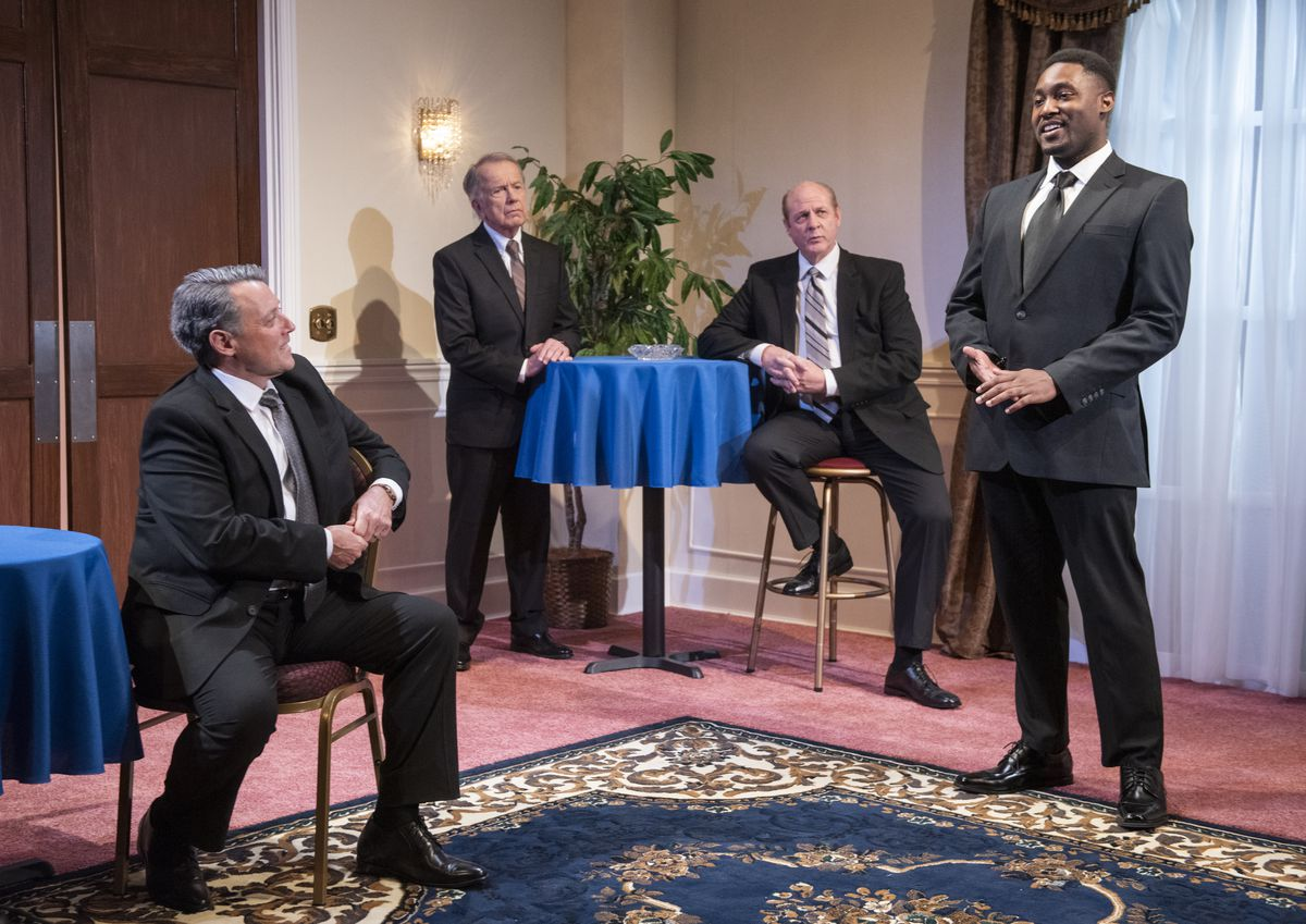 """Stephen Spencer (from left), Martin L'Herault, Tom McElroy and Denzel Tsopnang star in American Blues Theater's """"5 Presidents."""""""