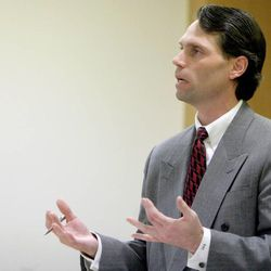 Duchesne County prosecutor Grant Charles responds to a question from Judge Lyle Anderson during a preliminary hearing Thursday, Dec. 22, 2011, in 8th District Court for LDS bishop Gordon Moon. Moon is charged with witness tampering, a third-degree felony; and failure to report abuse, a class B misdemeanor.