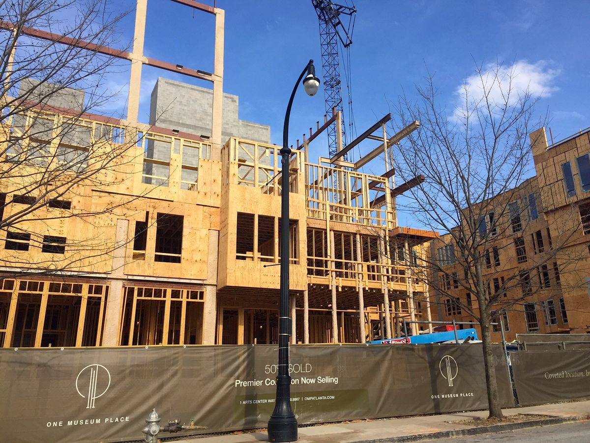The wood-and-steel bones of One Museum Place come together on Peachtree Street in Midtown. The largest units will span more than 5,300 square feet and command north of $3.5 million.