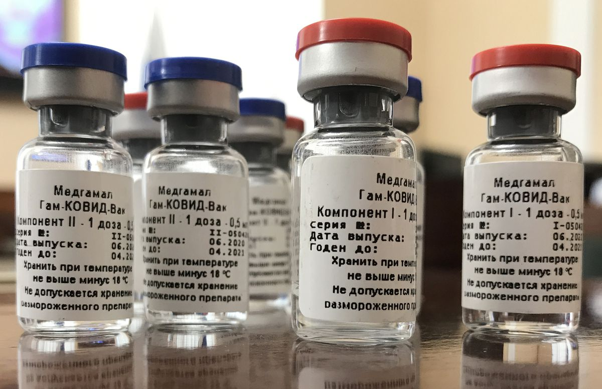 Ampoules with a COVID-19 vaccine developed by the Gamalei Scientific Research Institute of Epidemiology and Microbiology of the Russian Healthcare Ministry.