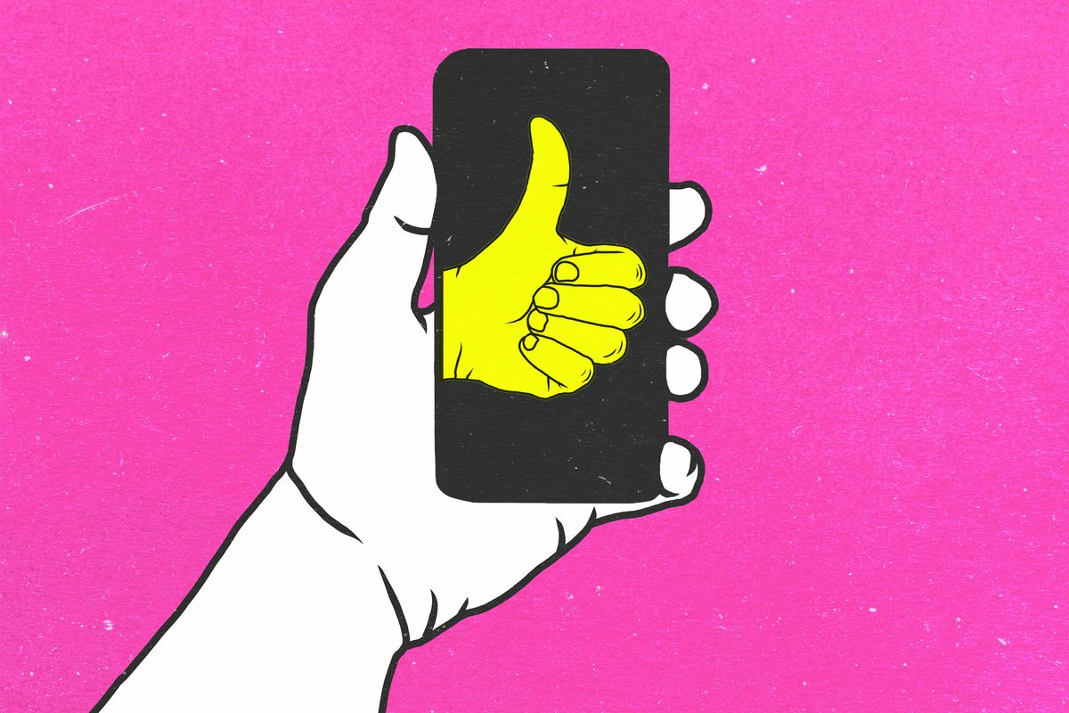 Illustration of a hand holding a phone with a thumbs-up icon on it