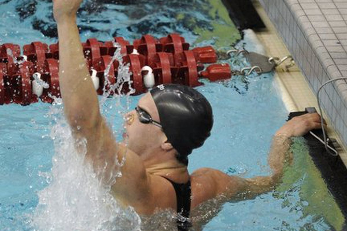 Max Murphy was one of three Auburn seniors to win All-American honors at the 2012  NCAA Swimming and Diving Championships. (<em>photo- Todd Van Ernst)</em>