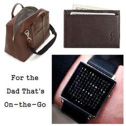 "Mill Leather Wayne Duffle in Chocolate, $495 at <a href=""http://www.jackspade.com/messenger-bags/messenger-bags-for-men/mill-leather-wayne-duffle/NYRU0638,default,pd.html?dwvar_NYRU0638_color=215&start=9&cgid=oldschool-dad"">Jack Spade</a>, <b>Polo Ralph L"