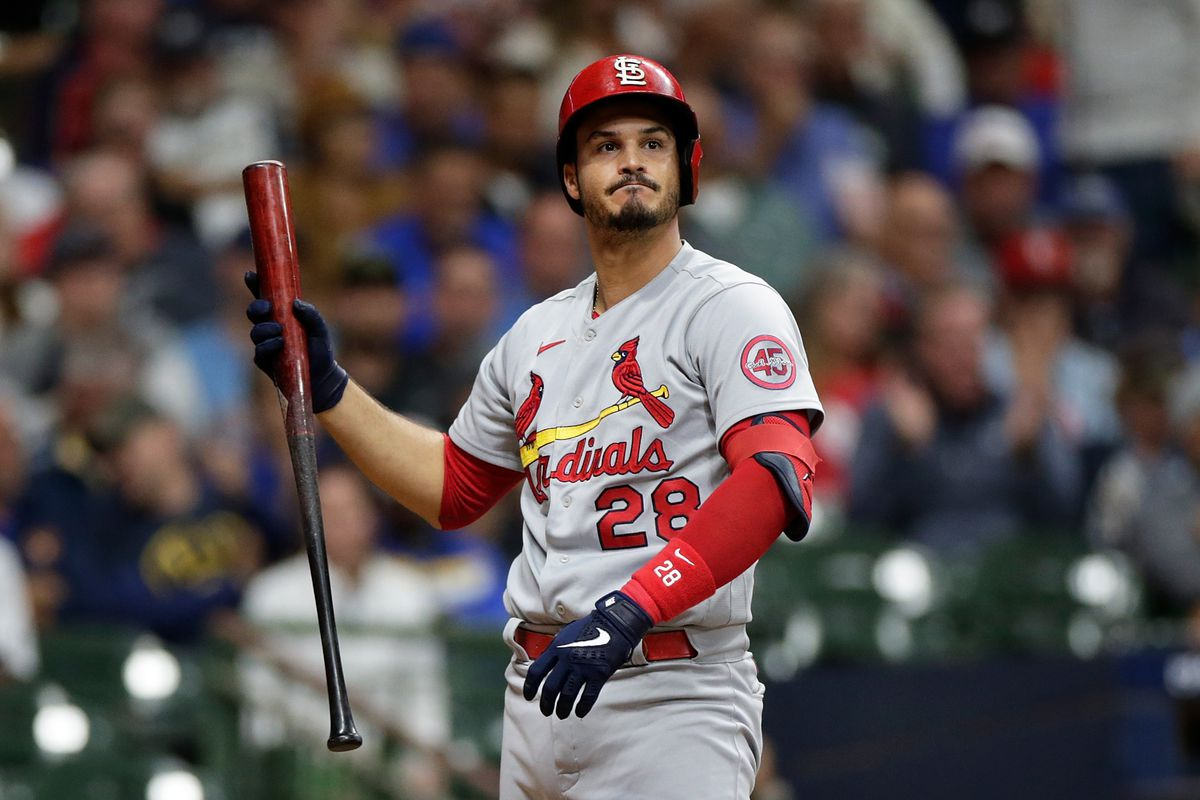 Nolan Arenado #28 of the St. Louis Cardinals up to bat against the Milwaukee Brewers at American Family Field on September 21, 2021 in Milwaukee, Wisconsin. Cardinals defeated the Brewers 2-1.