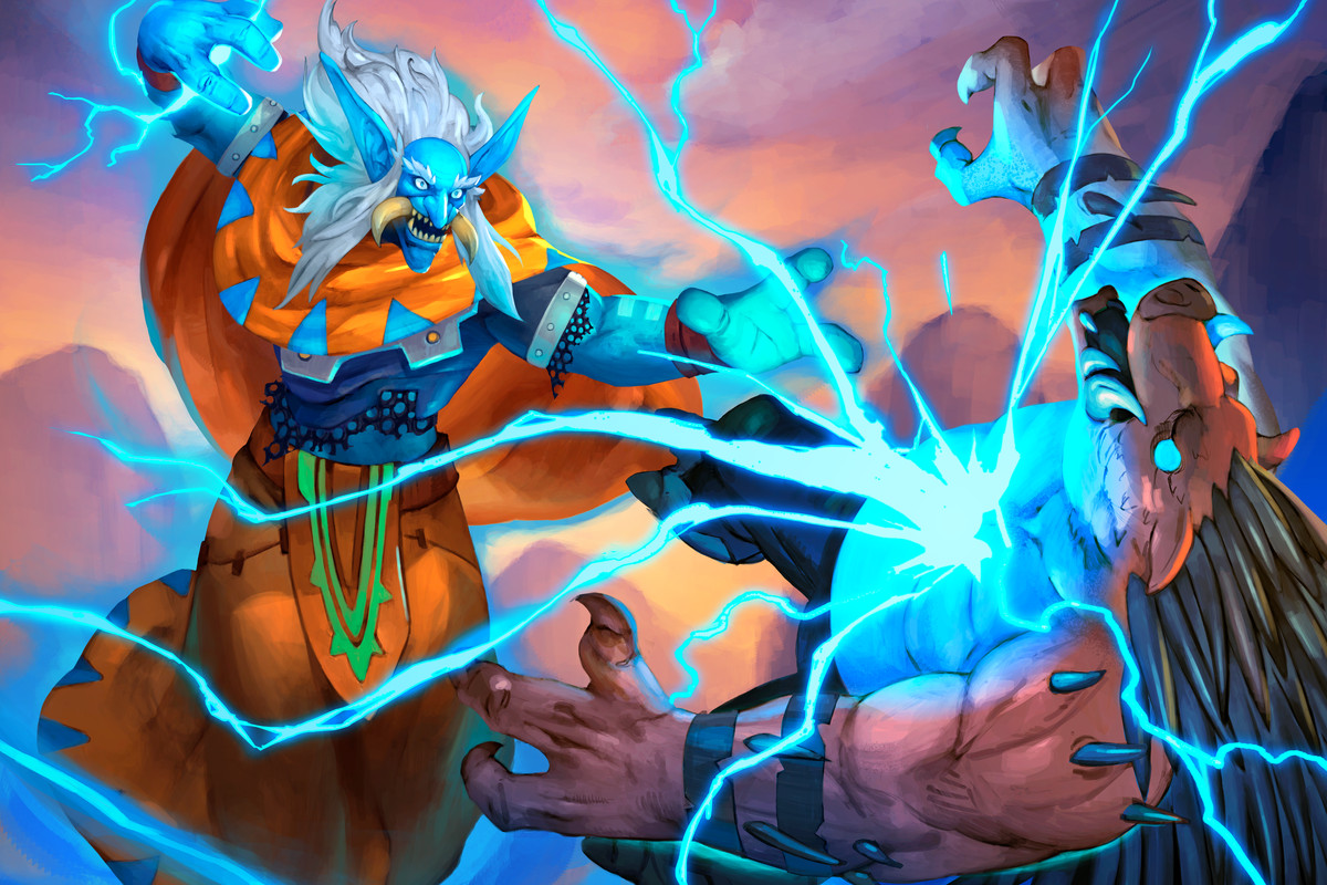 Hearthstone - a troll shaman in the Barrens unleashes chain lightning on a quilboar