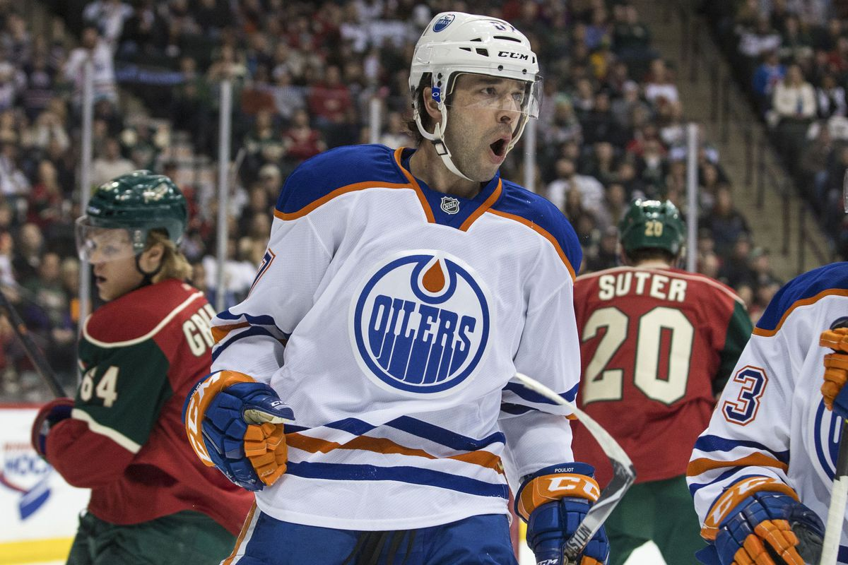 Benoit Pouliot celebrates after scoring 100% of the goals against Deven Dubnyk in the past two Oilers games against him.