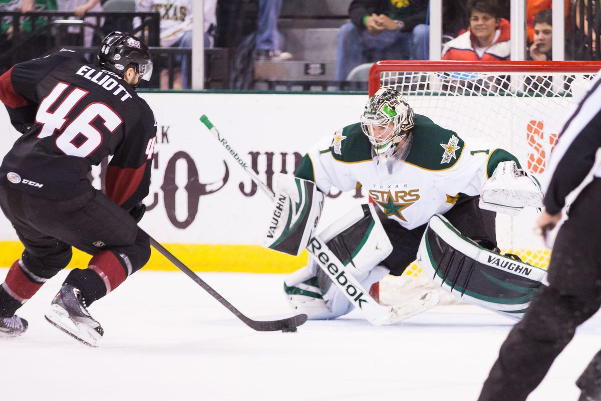 Jack Campbell tracks a puck in Tuesday's game against Lake Erie.